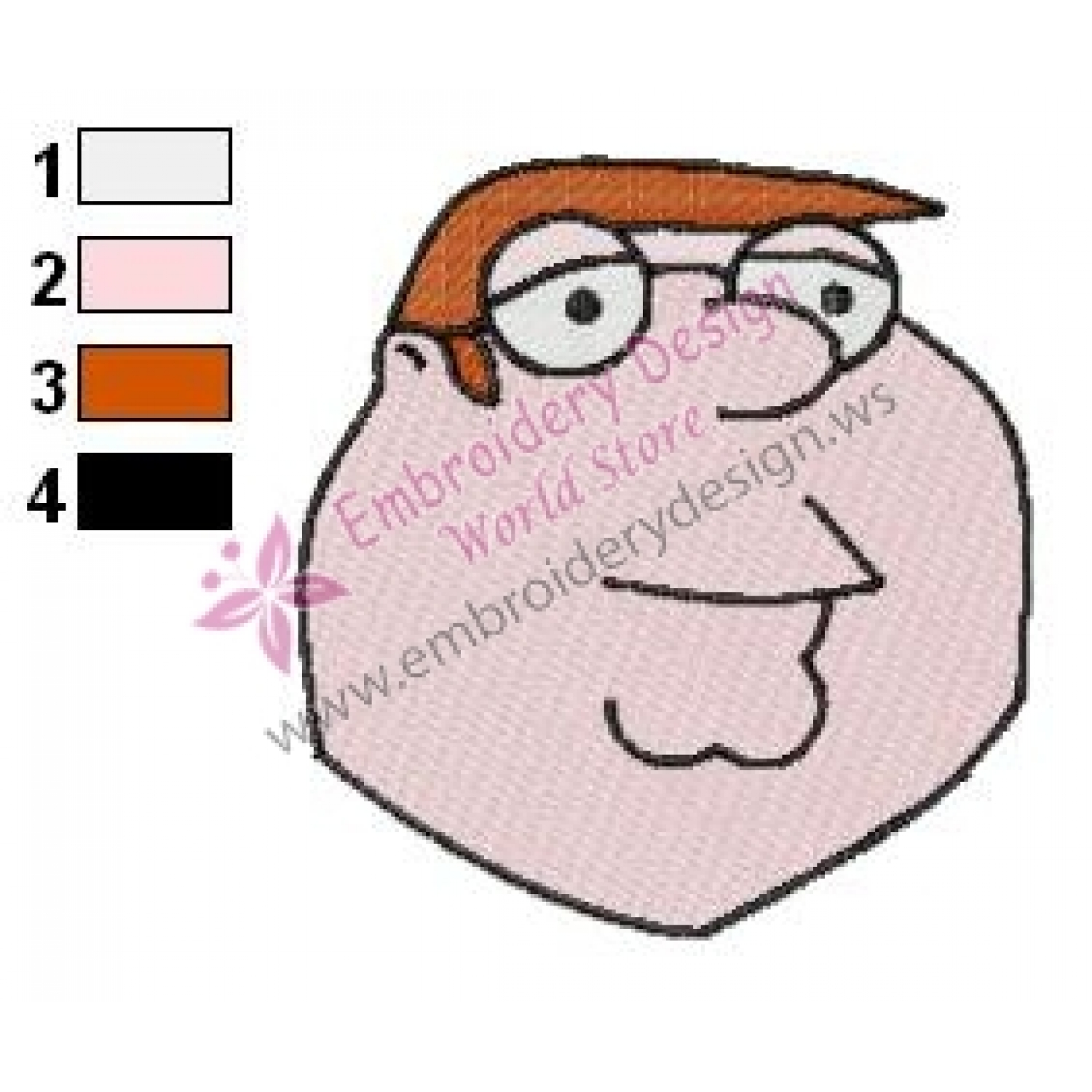 Peter griffin funny face family guy embroidery design