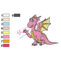 Pink Baby Dragon Embroidery Design