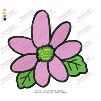 Pink Flower with Leaf Embroidery Design