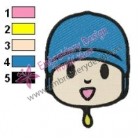 Pocoyo Face Embroidery Design