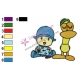 Pocoyo with Pato Embroidery Design