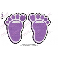 Purple Feet Embroidery Design