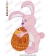 Rabbit Holding Colorful Eggs Embroidery Design