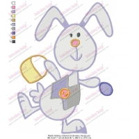 Rabbit Holding a Basket Embroidery Design