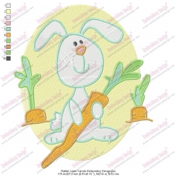 Rabbit Loves Carrots Embroidery Design