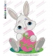 Rabbit Smiley Holding Colored Egg Embroidery Design