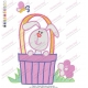 Rabbit in Basket Embroidery Design