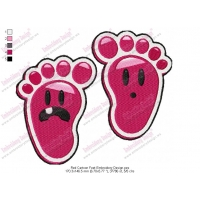 Red Cartoon Feet Embroidery Design