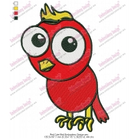 Red Cute Bird Embroidery Design