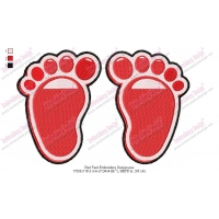 Red Feet Embroidery Design