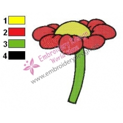 Red Flower Embroidery Design 02