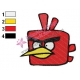 Red IceBird Angry Birds Space Embroidery Design