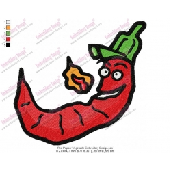 Red Pepper Vegetable Embroidery Design