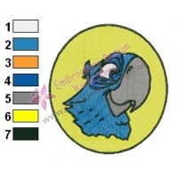 Rio Blu Face Angry Birds Embroidery Design