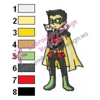 Robin Teen Titans Embroidery Design 04