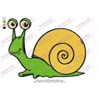 Smily Green Snail Embroidery Design