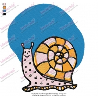 Snail with Blue Background Embroidery Design