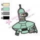 Spaceship Bender Futurama Embroidery Design