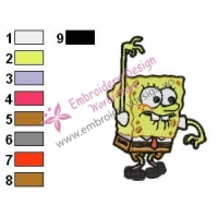 SpongeBob Afraid Embroidery Design