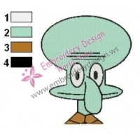 Squidward Face Embroidery Design