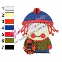 Stan at Haloween South Park Embroidery Design