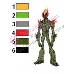 Swampfire Ben10 Embroidery Design