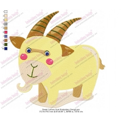 Sweet Cartoon Goat Embroidery Design
