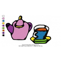Teapot Embroidery Design 02
