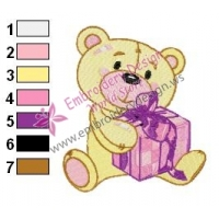 Teddy Bear Holding a Gift Embroidery Design