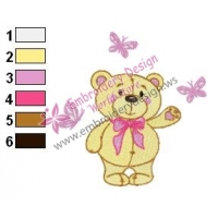 Teddy Bear Play With Butterfly Embroidery Design