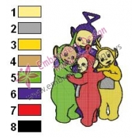 Teletubbies Family Embroidery Design