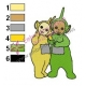Teletubbies Laa Laa with Dipsy Embroidery Design