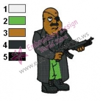 The Warrior Cleveland Brown Family Guy Embroidery Design