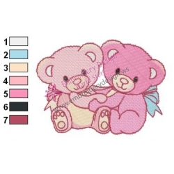 Tow Teddy Bears Embroidery Design