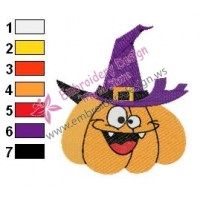 Wizard Pumpkin Embroidery Design