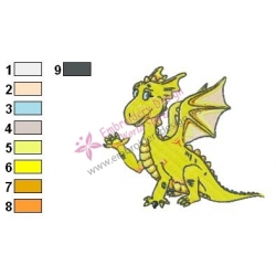 Yellow Baby Dragon Embroidery Design