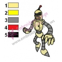 Yellow Bender Futurama Embroidery Design