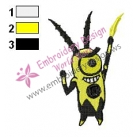 Yellow Plankton SquarePants Embroidery Design
