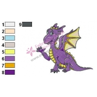 purple Baby Dragon Embroidery Design